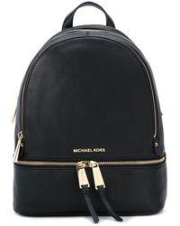 Michael Kors Rhea Large Leather Backpack - Schwarz