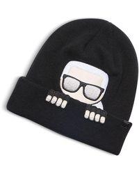Karl Lagerfeld Black Wool Hat