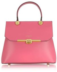 Le Parmentier Atlanta Genuine Leather Top Handle Satchel Bag W/shoulder Strap - Pink