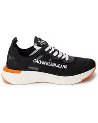 Calvin Klein - Black Faux Leather Sneakers - Lyst