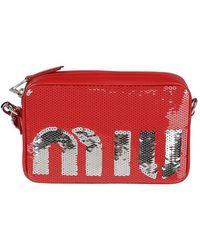 Miu Miu Schultertasche mit Pailletten - Rot