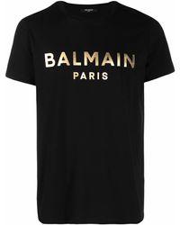 Balmain T-Shirt mit Metallic-Logo - Schwarz