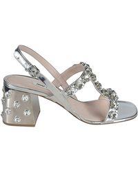 Miu Miu - Leather Sandals - Lyst
