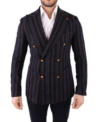 Tagliatore Multicolour Wool Blazer - Blue