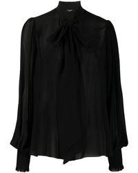 Balmain Pussy Bow Silk Blouse - Black