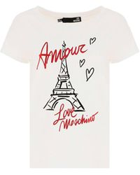Love Moschino W4f302me2264a00 andere materialien t-shirt - Weiß