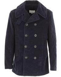 Maison Margiela Blue Cotton Coat