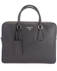 Prada Logo Plate Saffiano Leather Briefcase - Black