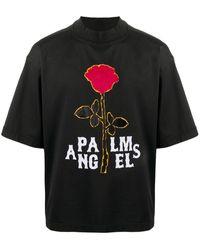 Palm Angels T-Shirt mit Rosen-Print - Schwarz