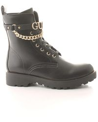 Guess Flnna3ele10 Leather Ankle Boots - Black