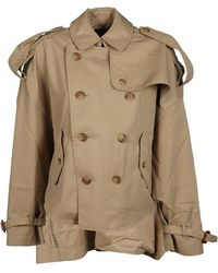 R13 - Brown Cotton Trench Coat - Lyst