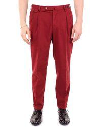 PT01 Burgundy Cotton Pants - Red