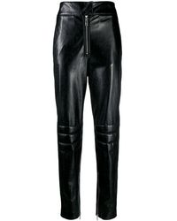 MSGM Faux Leather Trousers - Black