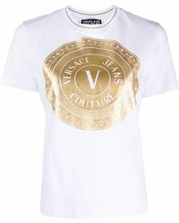 Versace Jeans Couture BAUMWOLLE T-SHIRT - Weiß