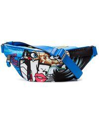Moschino Blue Cotton Belt Bag