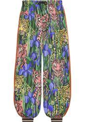 Gucci Multicolour Silk Trousers - Green