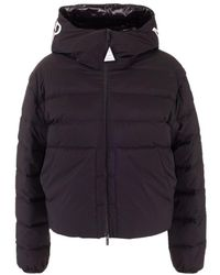 Moncler Logo Hood Down Jacket - Black