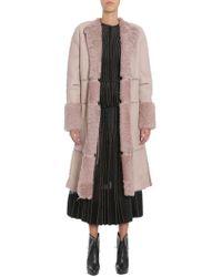 Alexander McQueen Cappotto Lungo In Montone Con Lacci In Pelle - Pink