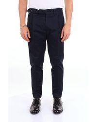 Michael Coal Blue Cotton Trousers