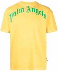 Palm Angels T-Shirt mit Logo-Print - Gelb