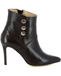Leonardo Shoes - Black Leather Ankle Boots - Lyst