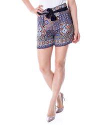 Desigual Multicolor Viscose Shorts - Blue