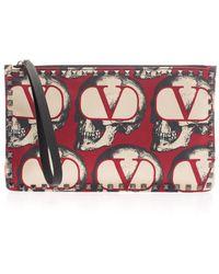 Valentino X Undercover Valentino Garavani Rockstud Clutch - Red