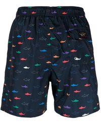Paul & Shark Badeshorts mit Hai-Print - Blau