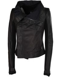 Rick Owens Black Leather Outerwear Jacket