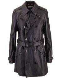 Saint Laurent Saint Laurent Women's 562636yc2ue1000 Black Leather Trench Coat