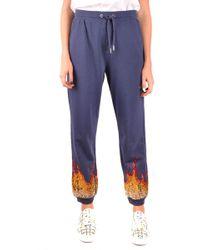 Zoe Karssen Blue Cotton Sweatpants