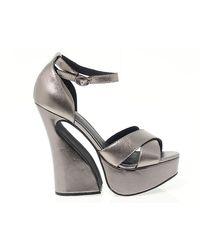 Jeffrey Campbell Stefanya Leather Sandals - Metallic