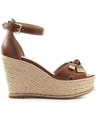 Michael Kors Leather Wedges - Brown