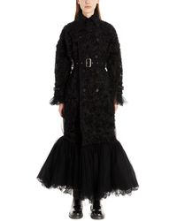 Noir Kei Ninomiya Polyester Trench Coat - Black