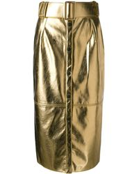 MSGM Faux-leather Button-front Midi Skirt - Metallic
