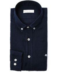 Etro - Blue Linen Shirt - Lyst