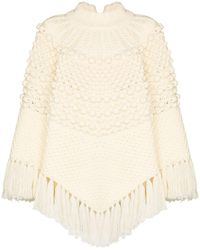 Saint Laurent Wool Poncho - Natural