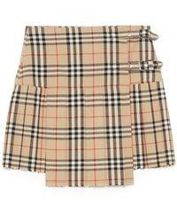 Burberry Wool Skirt - Natural