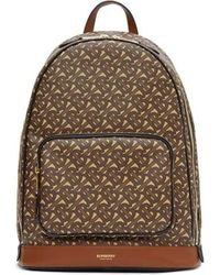 Burberry Leather Backpack With All Over Tb Print - Brown