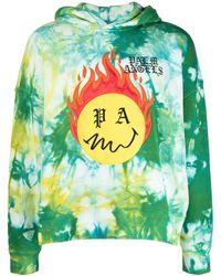 Palm Angels Burning Head Hoodie mit Batik-Print - Grün