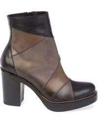DONNAPIU` Black Leather Ankle Boots