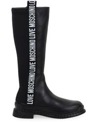 Love Moschino Leather Boots - Black