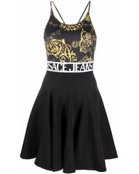 Versace Jeans Couture Logo-band Flared Dress - Black