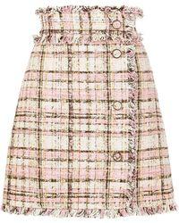 MSGM A-line Tweed Skirt - Pink
