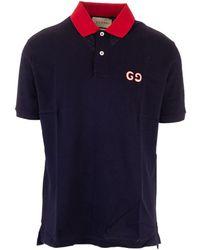 Gucci Poloshirt mit GG Stickerei - Blau