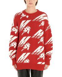 MSGM Intarsia Knit Sweater - Red