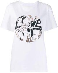 Alberta Ferretti T-Shirt mit Pailletten - Weiß