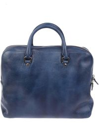Orciani Blue Leather Briefcase