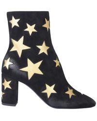 Saint Laurent - Black Leather Ankle Boots - Lyst