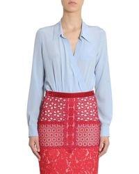 Boutique Moschino Light Blue Silk Bodysuit